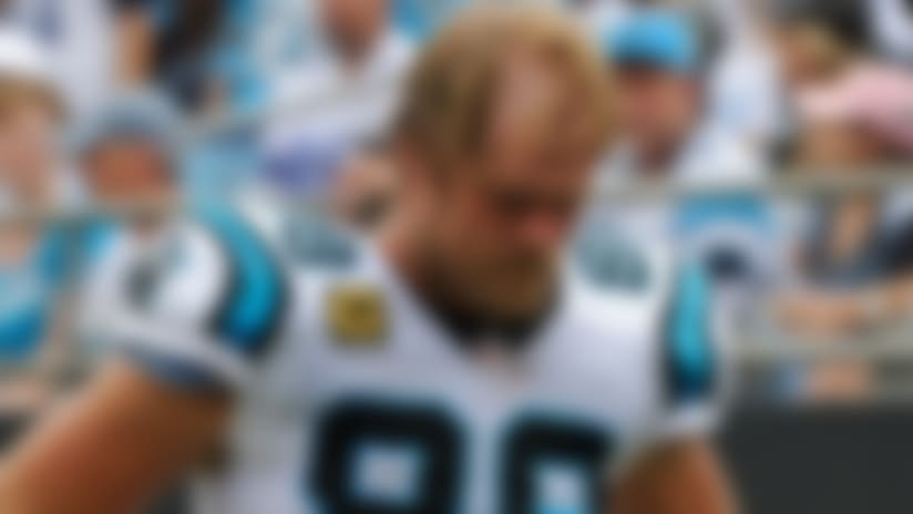 Carolina Panthers' Greg Olsen (88) walks off the field during the first half of an NFL football game against the Dallas Cowboys in Charlotte, N.C., Sunday, Sept. 9, 2018. (AP Photo/Mike McCarn)