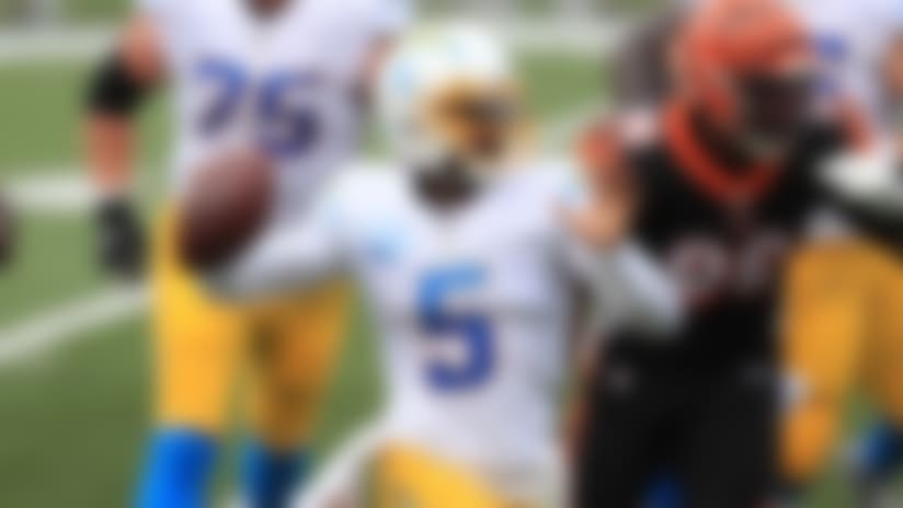 Los Angeles Chargers quarterback Tyrod Taylor (5) throws during the first half of an NFL football game against the Cincinnati Bengals, Sunday, Sept. 13, 2020, in Cincinnati. (AP Photo/Aaron Doster)