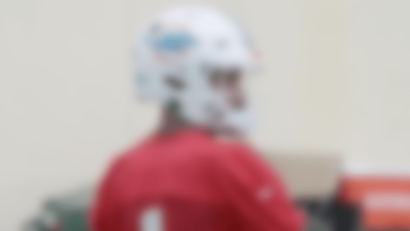 First look: Tua goes through drills at Fins training camp