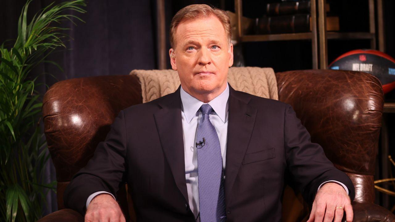 NFL Commissioner Roger Goodell on set on Thursday, April 29, 2021 in Cleveland, Ohio.