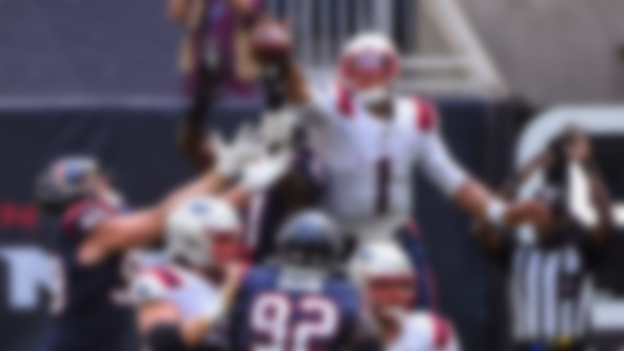 New England Patriots quarterback Cam Newton (1) bats down the ball on Sunday, Nov. 22, 2020, in Houston.