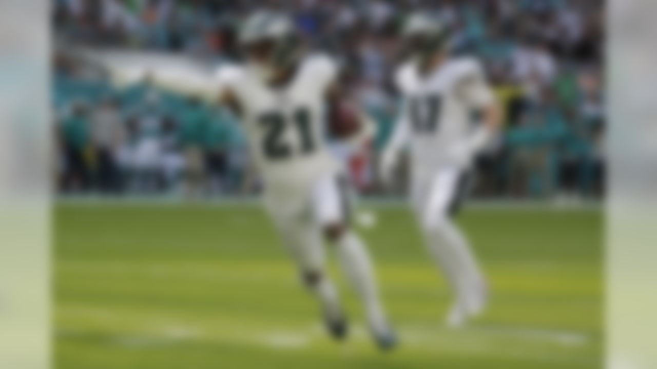 Philadelphia Eagles cornerback Ronald Darby (21) runs after intercepting a pass, during the first half of an NFL football game against the Miami Dolphins, Sunday, Dec. 1, 2019, in Miami Gardens, Fla. (AP Photo/Lynne Sladky)
