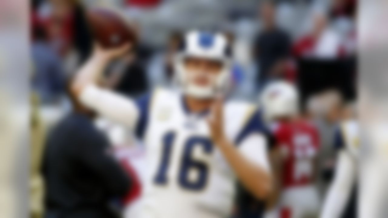 Los Angeles Rams quarterback Jared Goff (16) warms up prior to an NFL football game against the Arizona Cardinals, Sunday, Dec. 1, 2019, in Glendale, Ariz. (AP Photo/Rick Scuteri)
