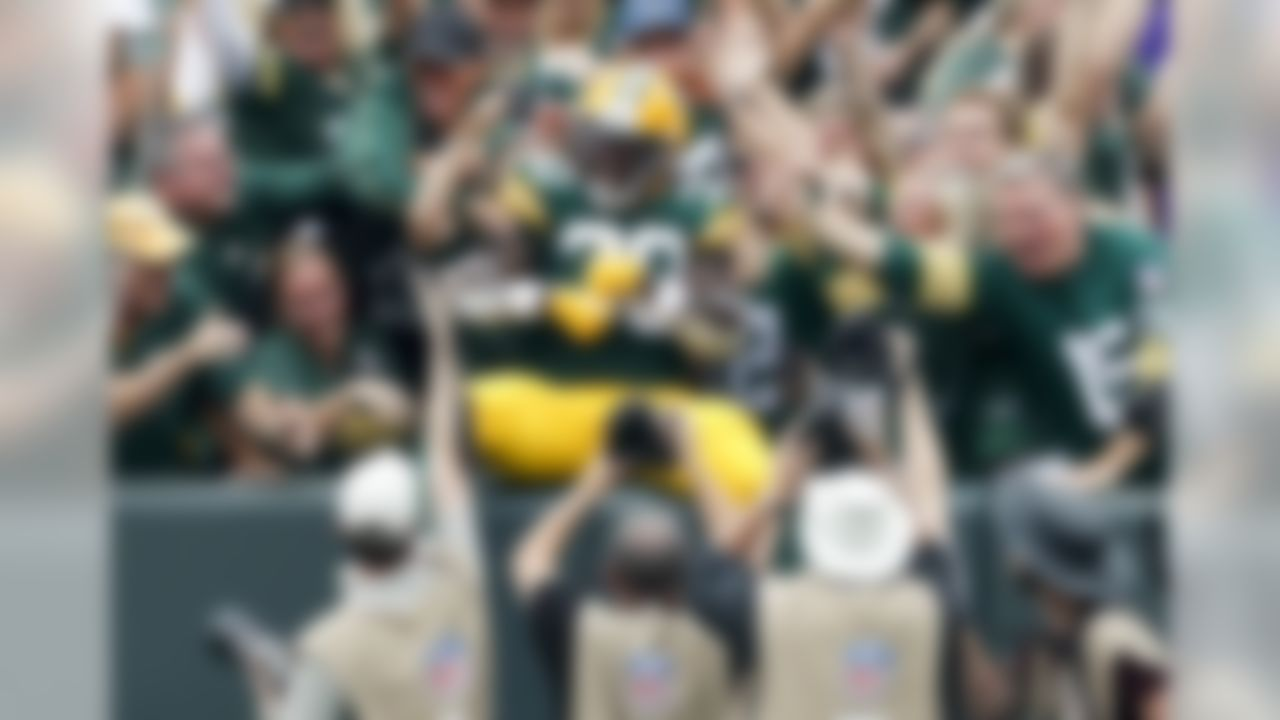 Green Bay Packers' Jamaal Williams celebrates his touchdown during the first half of an NFL football game against the Minnesota Vikings Sunday, Sept. 15, 2019, in Green Bay, Wis. (AP Photo/Matt Ludtke)