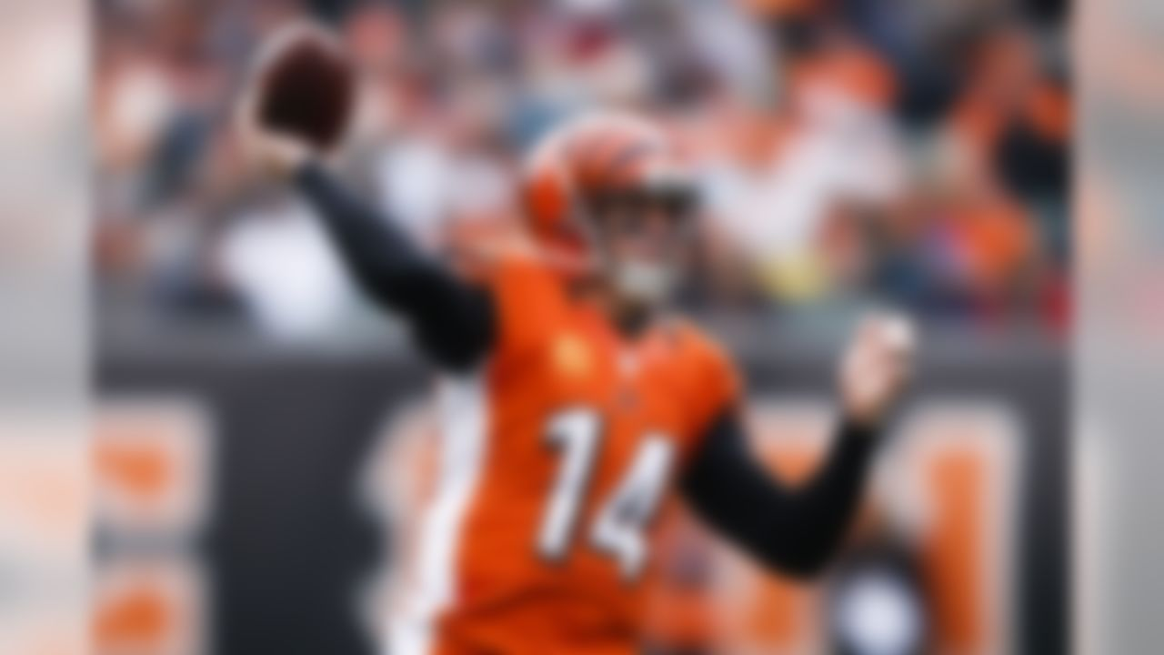 Cincinnati Bengals quarterback Andy Dalton throws in the first half of an NFL football game against the Philadelphia Eagles, Sunday, Dec. 4, 2016, in Cincinnati. (AP Photo/Gary Landers)