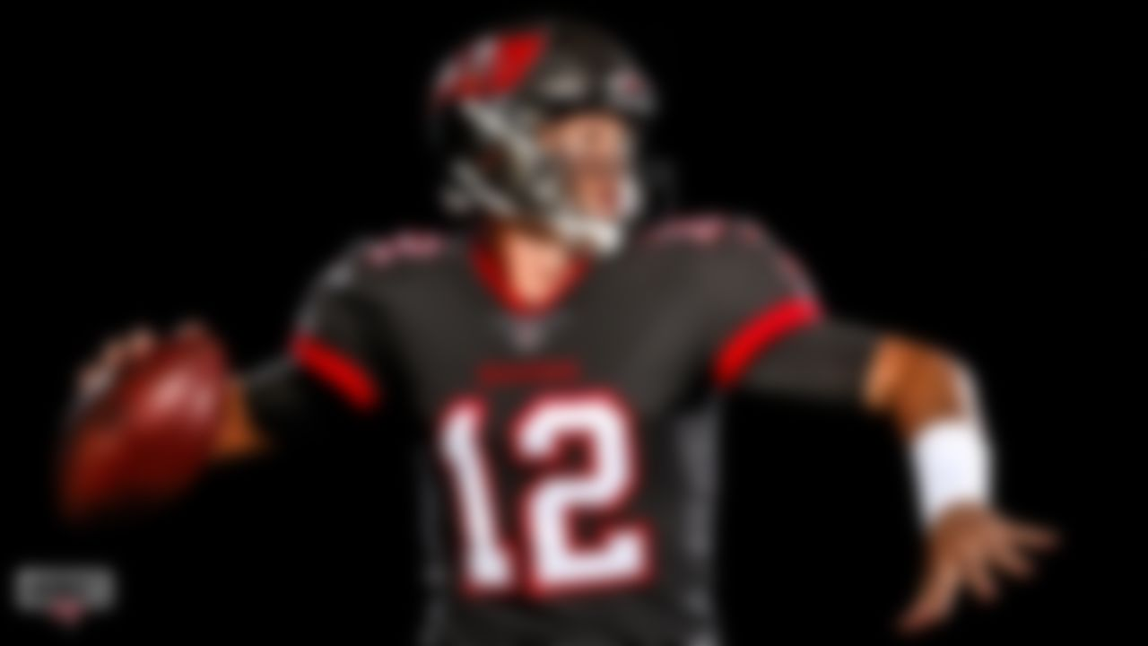 Quarterback Tom Brady #12 of the Tampa Bay Buccaneers is photographed in uniform for the first time as a member of the Bucs.