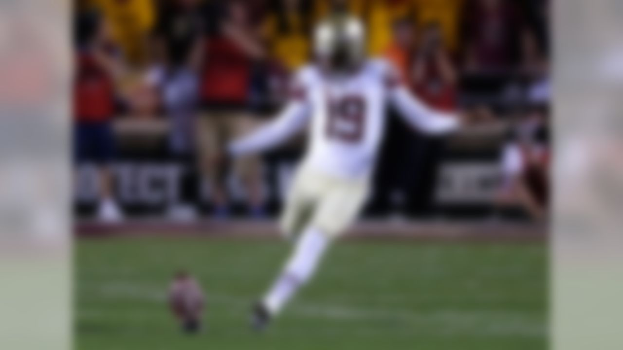 Drafted in: Round 2, No. 59 overall.  The most accurate kicker in NCAA history (with a .9674 combined conversion rate on field goals and extra points) is a very confident player who will solve the Buccaneers' kicking problems for a long time. He is the highest-drafted kicker since the Jets took Mike Nugent -- who, coincidentally, had a brief stint with Tampa -- in Round 2 (No. 47 overall) of the 2005 NFL Draft. Yes, the Bucs traded up to get Aguayo, but he really only has to win one game to make that investment worth it. Aguayo doesn't have a Sebastian Janikowski-type leg, but kickers have a tendency to get stronger with age.
