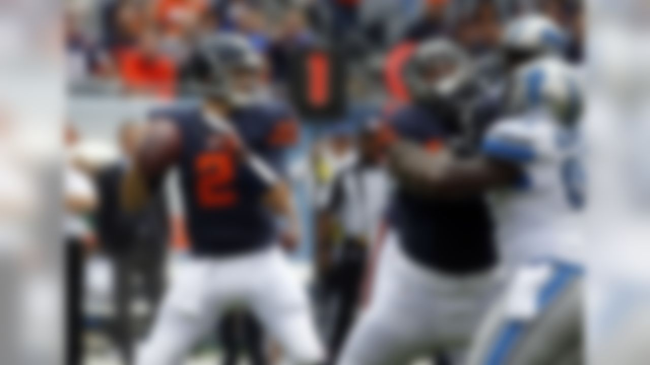 Chicago Bears quarterback Brian Hoyer (2) looks for a receiver during the first half of an NFL football game against the Detroit Lions, Sunday, Oct. 2, 2016, in Chicago. (AP Photo/Nam Y. Huh)