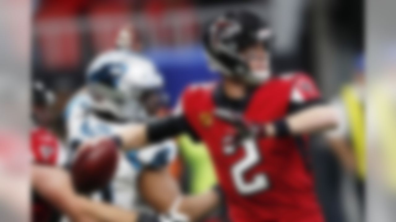 Atlanta Falcons quarterback Matt Ryan (2) works in the pocket against the Carolina Panthers during the first half of an NFL football game, Sunday, Dec. 8, 2019, in Atlanta. (AP Photo/John Bazemore)