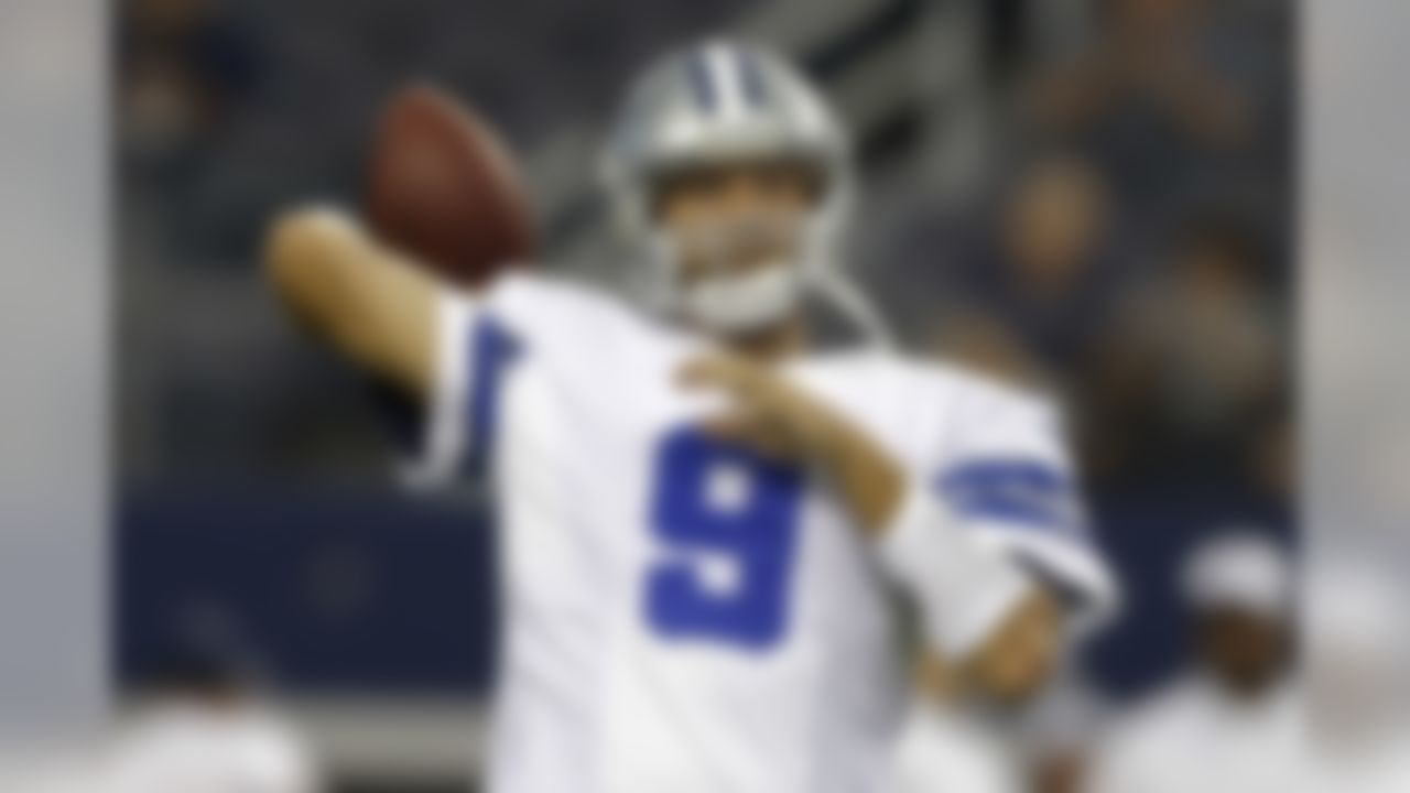 Dallas Cowboys quarterback Tony Romo (9) warms up before an NFL preseason football game against the Houston Texans, Thursday, Aug. 29, 2013, in Arlington, Texas. (AP Photo/LM Otero)