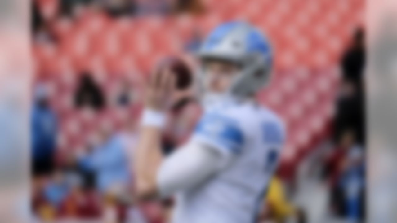Detroit Lions quarterback Jeff Driskel works out prior to an NFL football game against the Washington Redskins, Sunday, Nov. 24, 2019, in Landover, Md. (AP Photo/Mark Tenally)