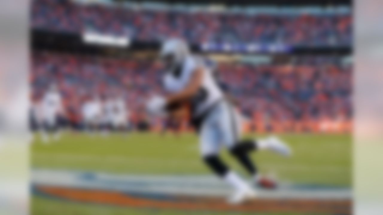 Oakland Raiders wide receiver Seth Roberts (10) catches the ball in the end zone for a touchdown during the NFL regular season game against the Denver Broncos on Sunday, Dec. 13, 2015 in Denver. (Ric Tapia/NFL)