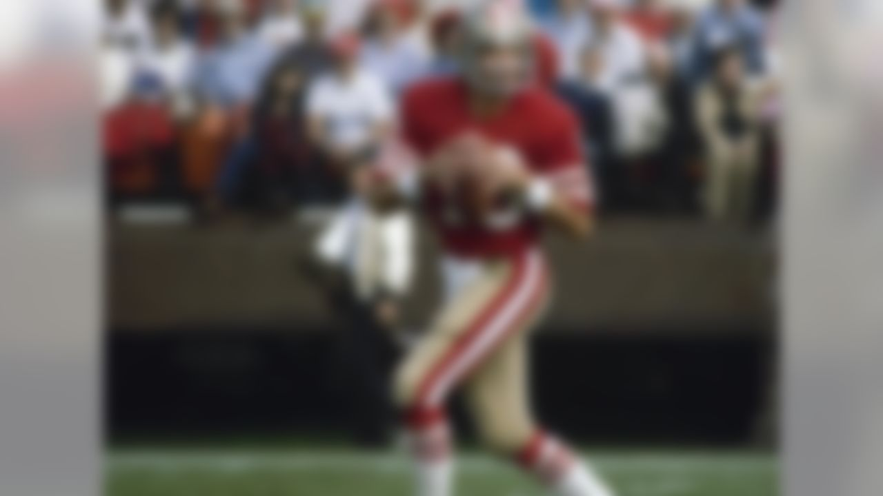 The most clutch quarterback in NFL history, Joe Montana led the 49ers to four Super Bowl wins. He also appeared in eight Pro Bowls, and was a first-ballot inductee into the Pro Football Hall of Fame.