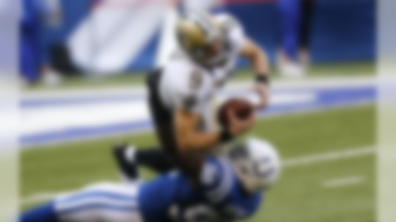 Indianapolis Colts outside linebacker Robert Mathis (98) sacks New Orleans Saints quarterback Drew Brees (9) in the first half of an NFL football game in Indianapolis, Sunday, Oct. 25, 2015. (AP Photo/AJ Mast)