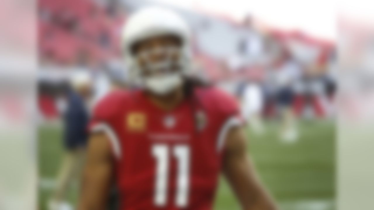 Arizona Cardinals wide receiver Larry Fitzgerald (11) laughs prior to an NFL football game against the Los Angeles Rams, Sunday, Dec. 23, 2018, in Glendale, Ariz. (AP Photo/Ross D. Franklin)