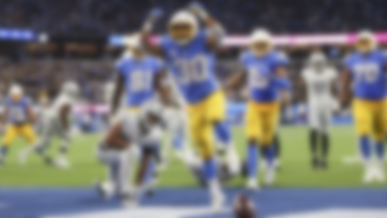 Los Angeles Chargers running back Austin Ekeler (30) celebrates a touchdown during an NFL football game against the Las Vegas Raiders on Monday, October 4, 2021 in Inglewood, California.