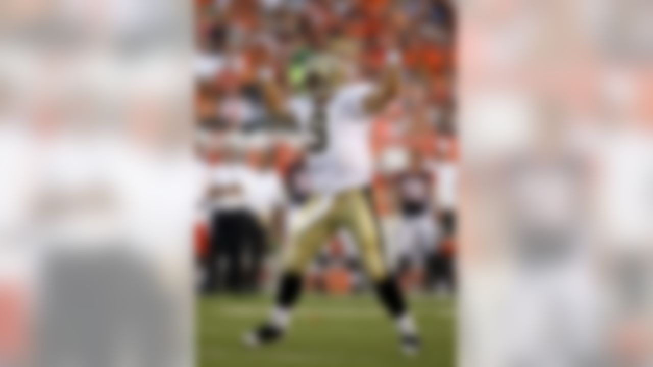CINCINNATI - AUGUST 23:  Drew Brees #9 of the New Orleans Saints celebrates after throwing a touchdown pass during the NFL game against the Cincinnati Bengals at Paul Brown Stadium on August 23, 2008 in Cincinnati, Ohio.  (Photo by Andy Lyons/Getty Images)