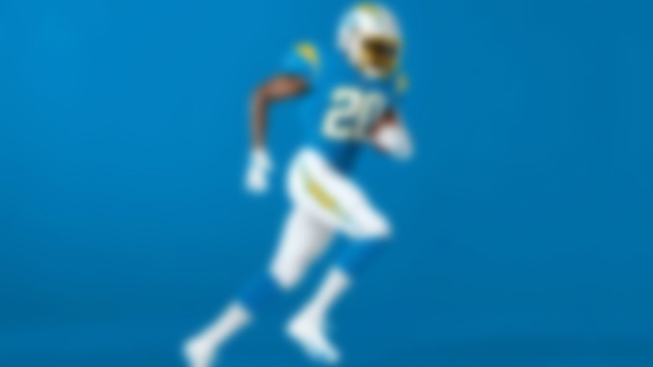 Los Angeles Chargers defensive back Desmond King II (20)  in the new Chargers 2020 uniforms.