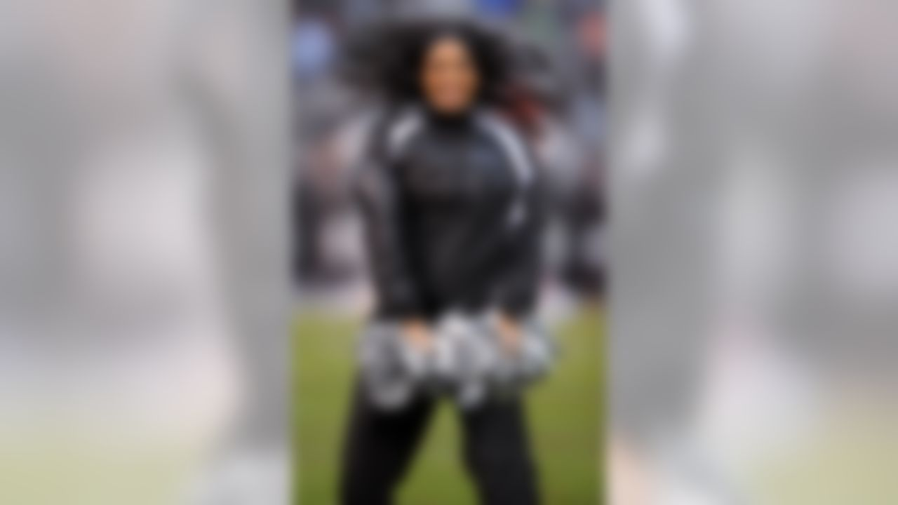 Dec 14, 2008; Oakland, CA, USA; Oakland Raiders Raidetette cheerleader Shanika Goodspeed performs during game against the New England Patriots at the Oakland-Alameda County Coliseum. (Photo by Kirby Lee/Image of Sport)