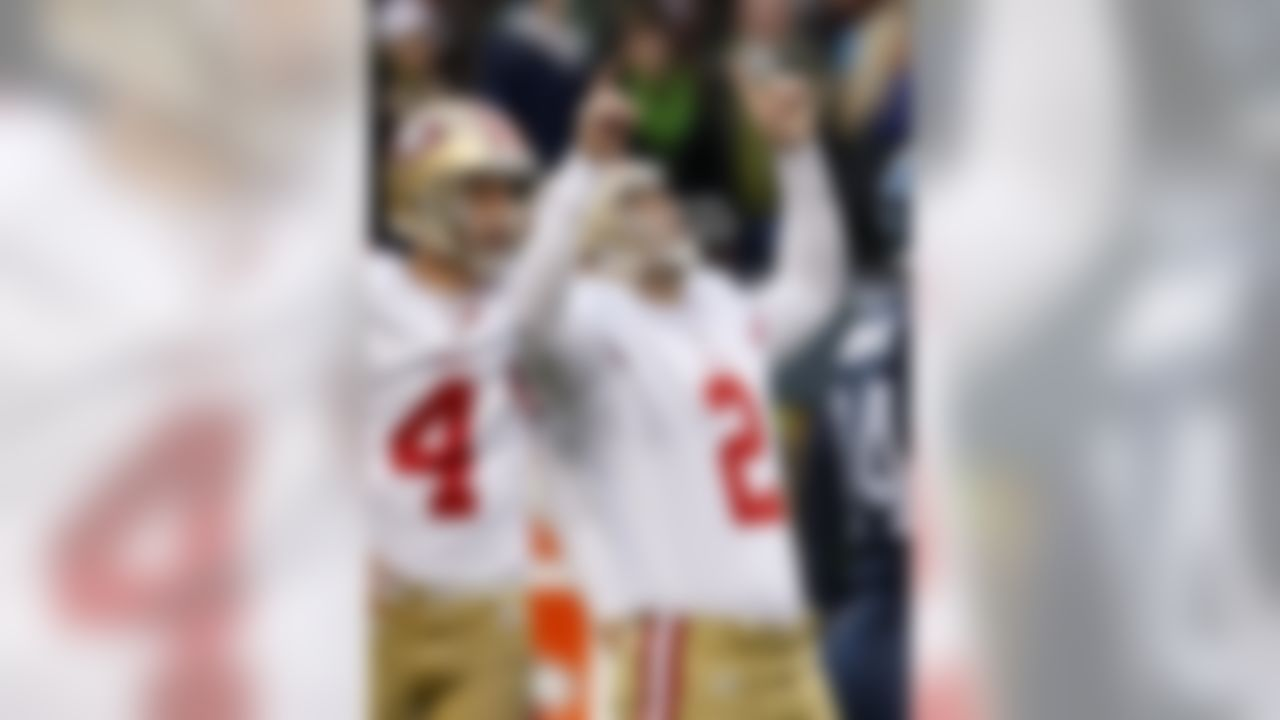 San Francisco 49ers'  David Akers reacts after kicking a field goal against the Seattle Seahawks as  Andy Lee looks on in the second half of an NFL football game Saturday, Dec. 24, 2011, in Seattle. (AP Photo/Kevin Casey)
