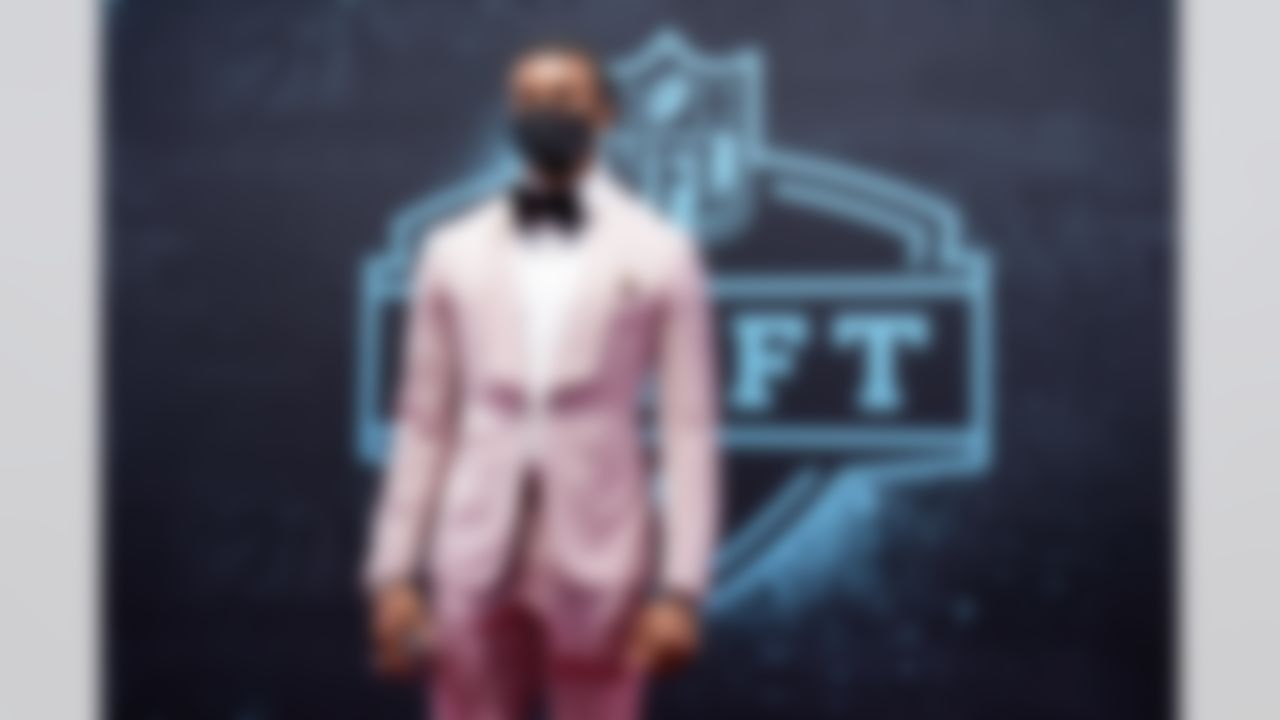 Alabama cornerback Patrick Surtain II walks on the red carpet on Thursday, April 29, 2021 in Cleveland, Ohio.