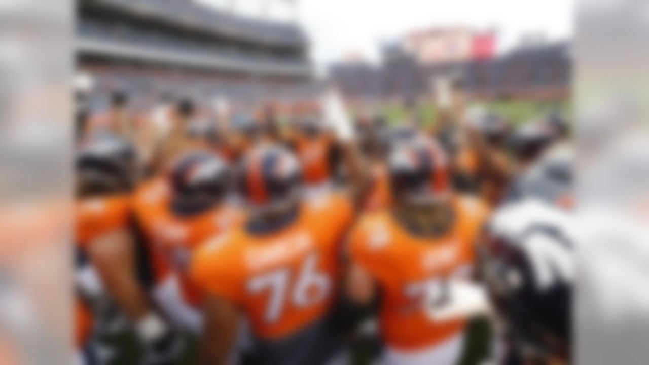 The Denver Broncos huddle up prior to an NFL preseason football game against the Arizona Cardinals, Thursday, Aug. 31, 2017, in Denver. (AP Photo/Jack Dempsey)