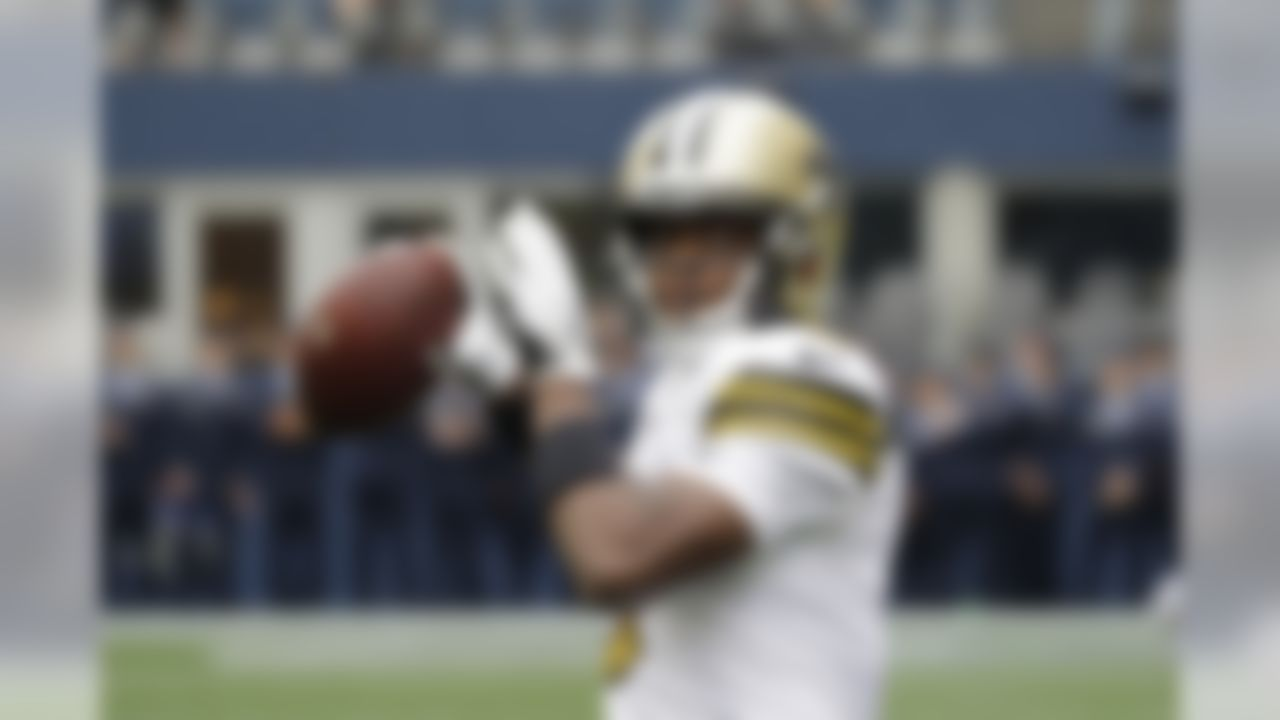 New Orleans Saints quarterback Teddy Bridgewater warms up before an NFL football game against the Seattle Seahawks, Sunday, Sept. 22, 2019, in Seattle. (AP Photo/Ted S. Warren)