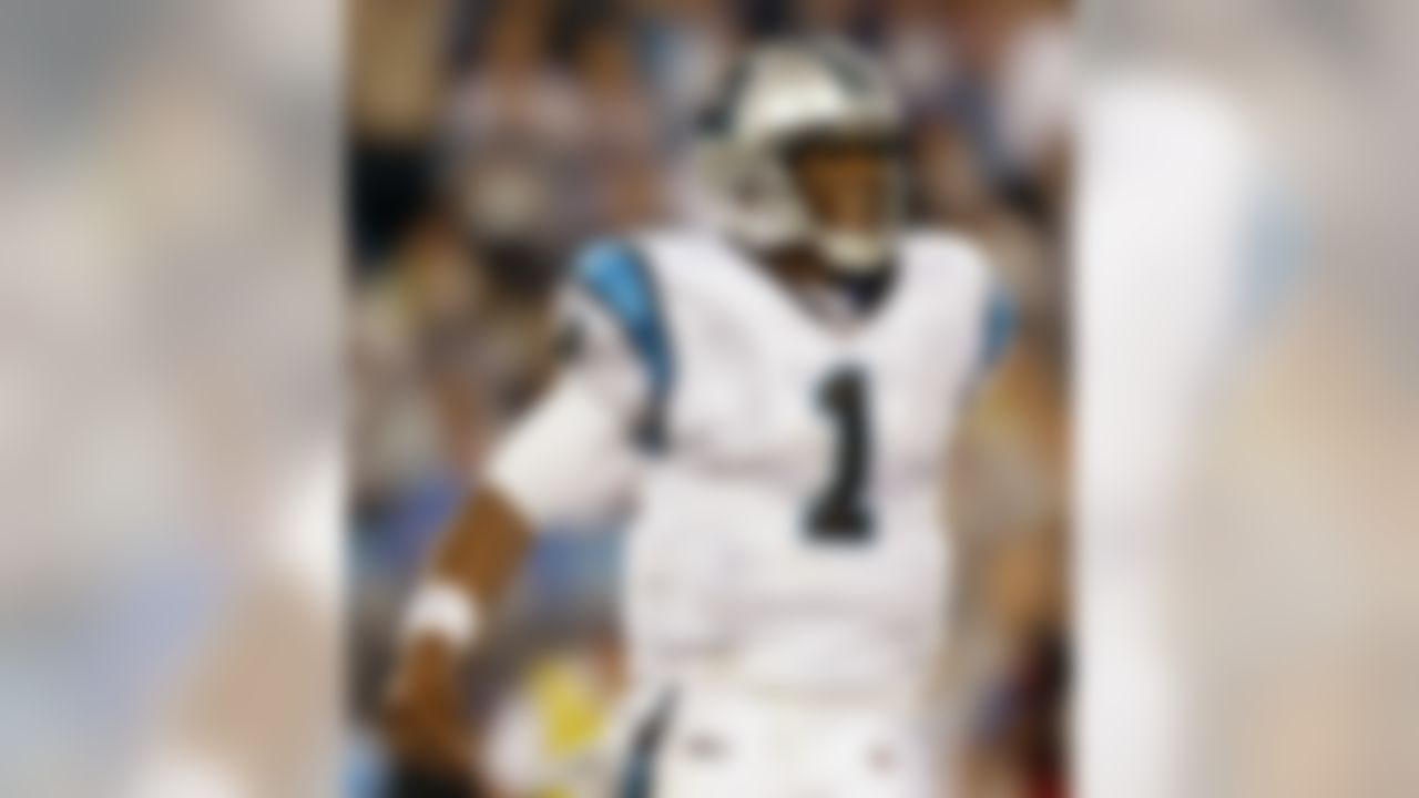 Carolina Panthers' Cam Newton (1) reacts after an incomplete pass in the end zone against the New York Giants in the second quarter of an NFL football preseason game in Charlotte, N.C., Saturday, Aug. 13, 2011. (AP Photo/Chuck Burton)