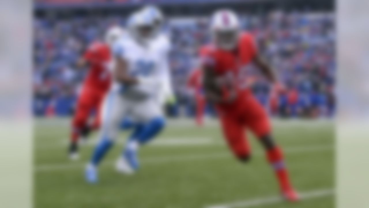 Buffalo Bills wide receiver Isaiah McKenzie, right, rushes during the first half of an NFL football game against the Detroit Lions, Sunday, Dec. 16, 2018, in Orchard Park, N.Y. (AP Photo/Adrian Kraus)