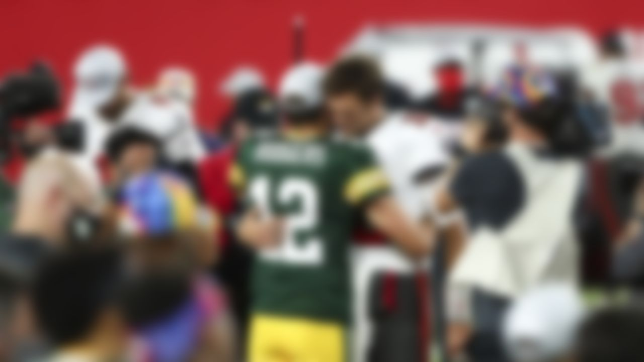 Green Bay Packers quarterback Aaron Rodgers (12) and Tampa Bay Buccaneers quarterback Tom Brady (12) talk after an NFL football game on Sunday, October 18, 2020 in Tampa, Florida.