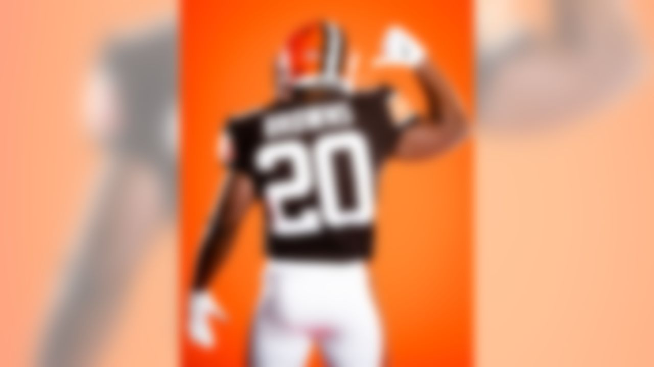 Cleveland Browns cornerback Tavierre Thomas (20) in the new Browns 2020 uniforms.