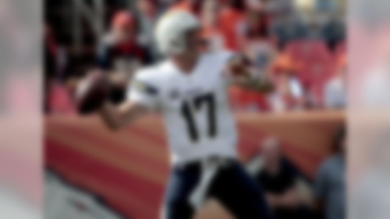 San Diego Chargers quarterback Philip Rivers (17) warms up prior to an NFL football game against the Denver Broncos, Sunday, Oct. 30, 2016, in Denver. (AP Photo/Joe Mahoney)