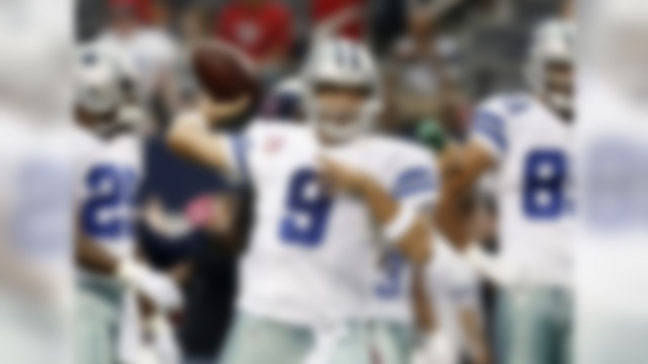 Dallas Cowboys quarterback Tony Romo throws a pass during warm ups before an NFL football game against the Houston Texans, Sunday, Oct. 5, 2014, in Arlington, Texas.  (AP Photo/Brandon Wade)