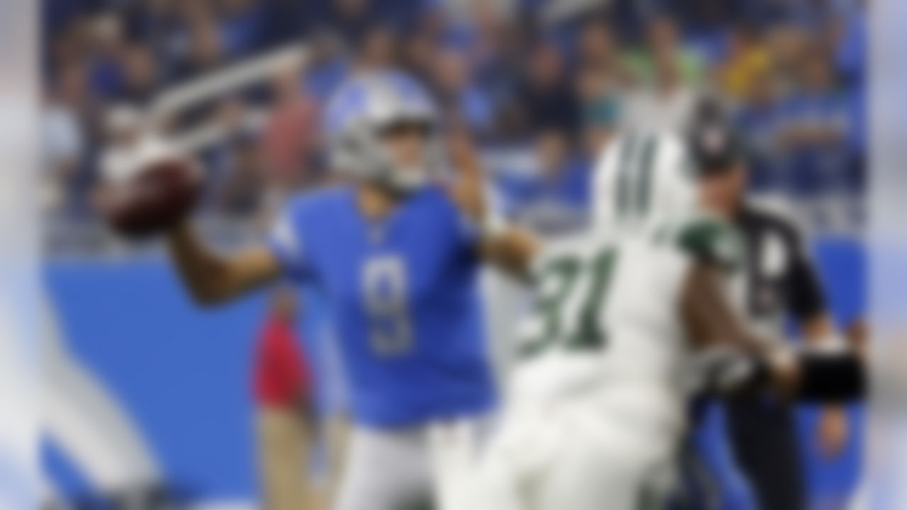 Detroit Lions quarterback Matthew Stafford throws during the first half of an NFL preseason football game against the New York Jets, Saturday, Aug. 19, 2017, in Detroit. (AP Photo/Paul Sancya)