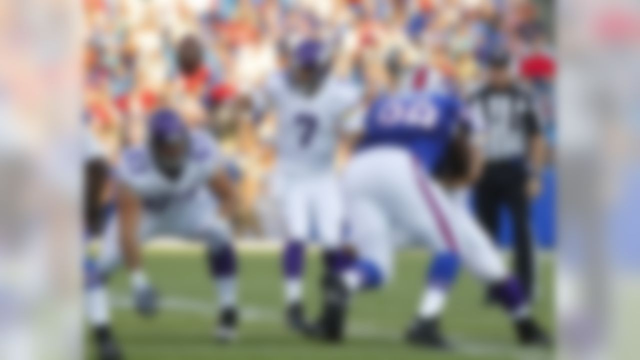 Minnesota Vikings quarterback Christian Ponder (7) loses control of the ball on the snap during the first half of an NFL preseason football game against the Buffalo Bills on Friday, Aug. 16, 2013, in Orchard Park, N.Y. The Vikings retained possession. (AP Photo/Bill Wippert)