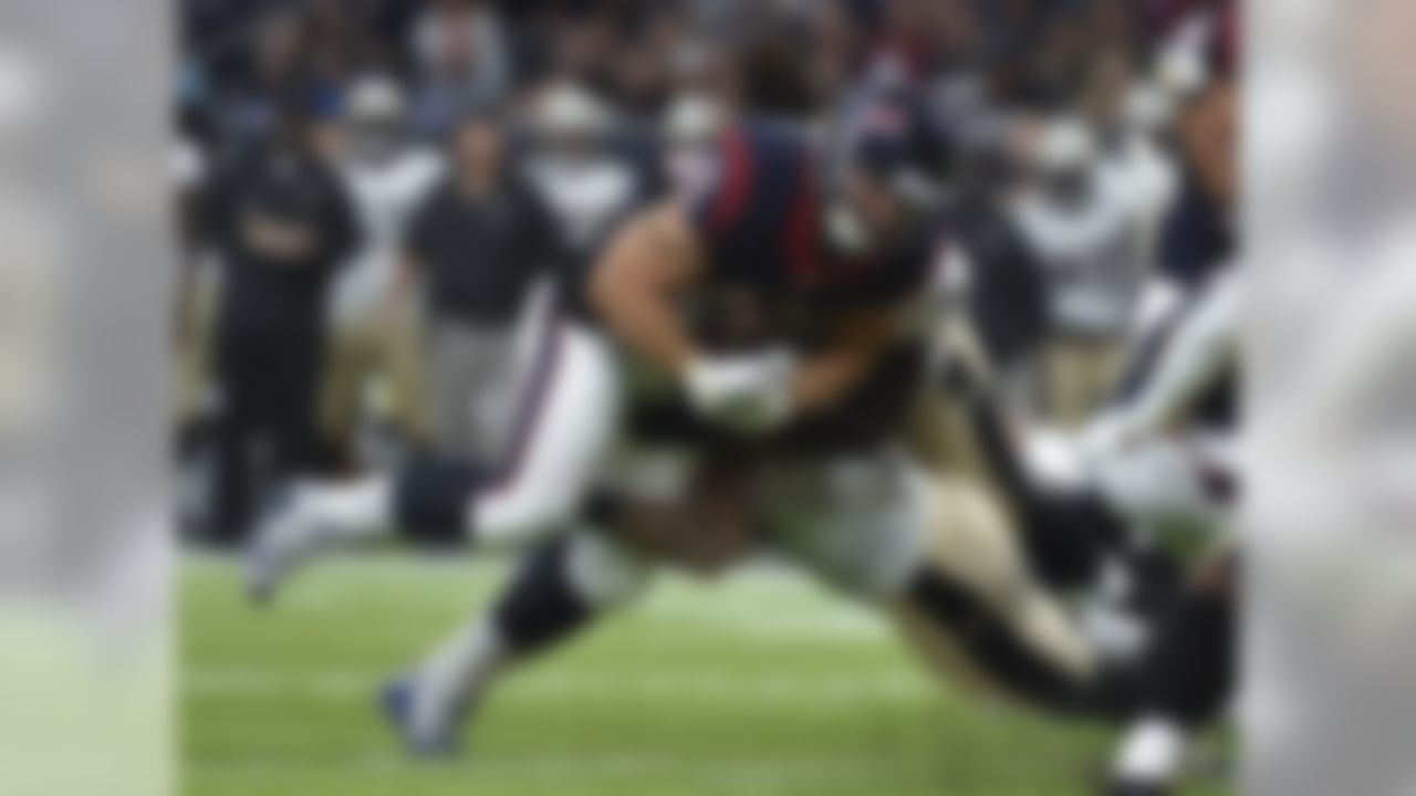 Houston Texans fullback Jay Prosch (45) runs against the New Orleans Saints in the first half of an NFL preseason football game in Houston, Saturday, Aug. 20, 2016. (AP Photo/Eric Christian Smith)