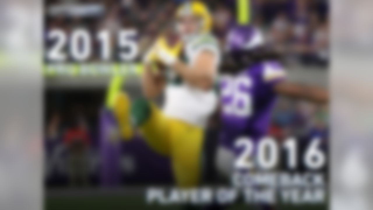 After a tremendous 2014 season which earned him a ticket to the 2015 Pro Bowl, Jordy Nelson tore his ACL during the 2015 preseason. He came back explosively during the 2016 season, earning him the Comeback Player of the Year award.