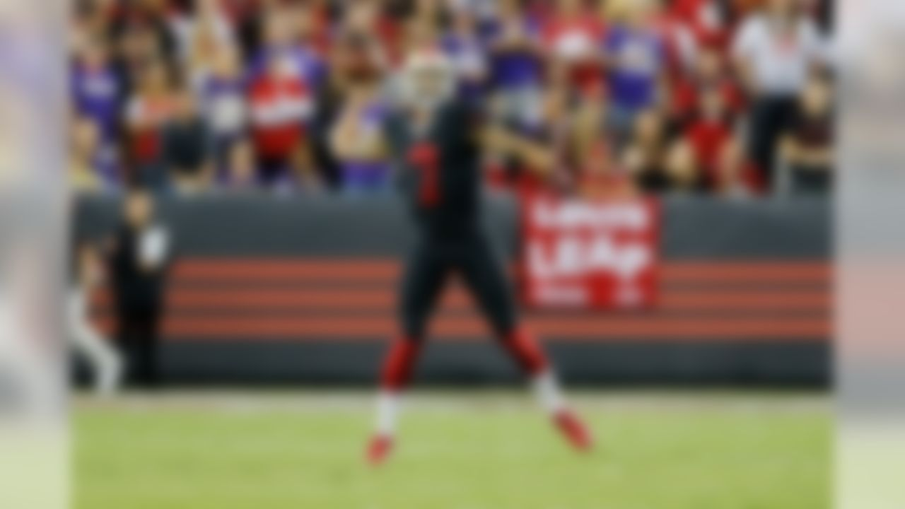 San Francisco 49ers quarterback Colin Kaepernick (7) throws on the run during the NFL regular season game against the Minnesota Vikings on Monday, Sept. 14, 2015 in Santa Clara, Calif. (Ric Tapia/NFL)