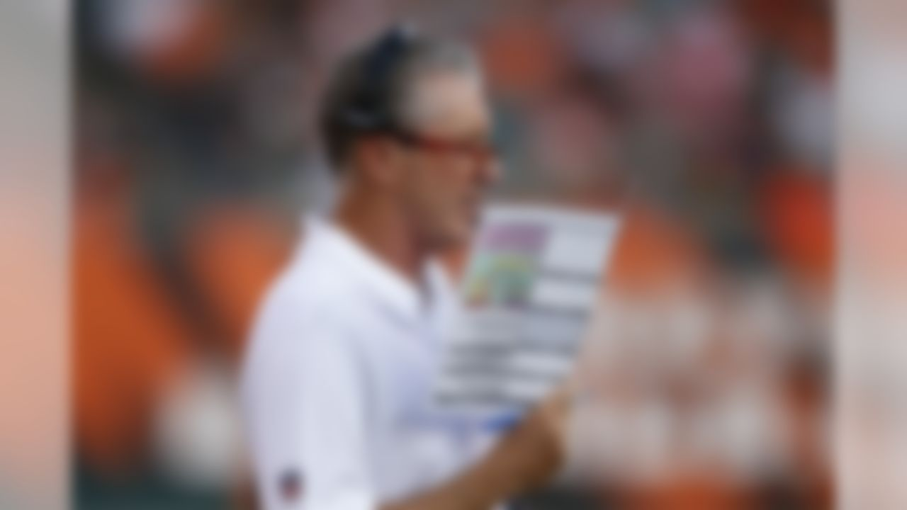 Tampa Bay Buccaneers coach Dirk Koetter works the sideline in the first half of the team's preseason NFL football game against the Cincinnati Bengals, Friday, Aug. 11, 2017, in Cincinnati. (AP Photo/Gary Landers)