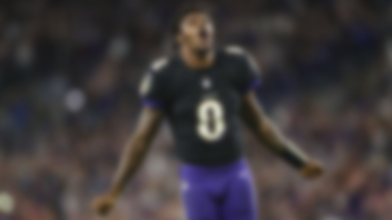Baltimore Ravens quarterback Lamar Jackson (8) celebrates after an NFL football game against the Indianapolis Colts on Monday, October 11, 2021 in Baltimore, Maryland.