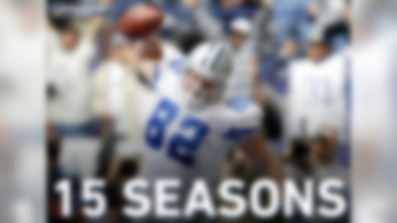 Jason Witten was drafted in 2003 by the Dallas Cowboys and has played 15 NFL seasons all with the Cowboys.