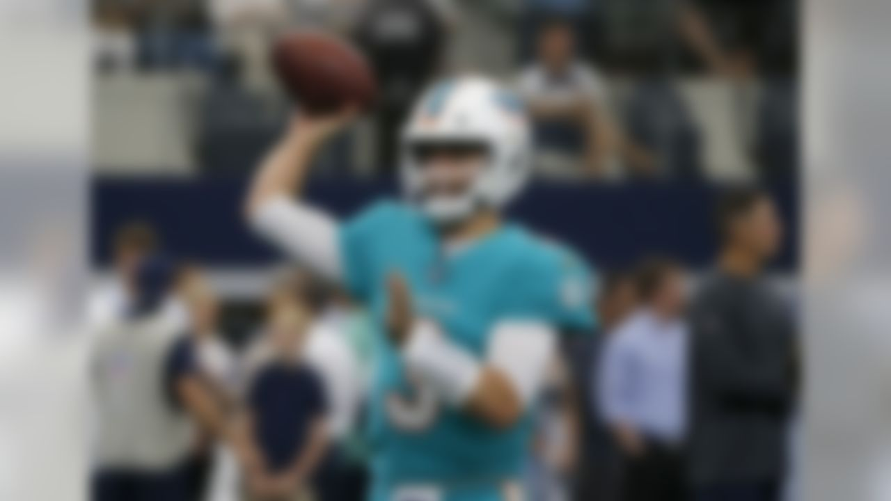 Miami Dolphins quarterback Josh Rosen (3) throws a pass during warmups before a NFL football game against the Dallas Cowboys in Arlington, Texas, Sunday, Sept. 8, 2019. (AP Photo/Michael Ainsworth)