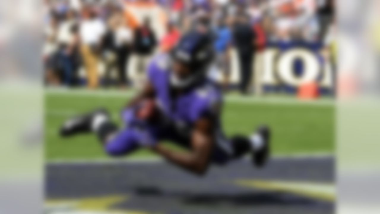 Baltimore Ravens wide receiver Miles Boykin catches a touchdown pass from quarterback Lamar Jackson during the first half of an NFL football game against the Cleveland Browns Sunday, Sept. 29, 2019, in Baltimore.