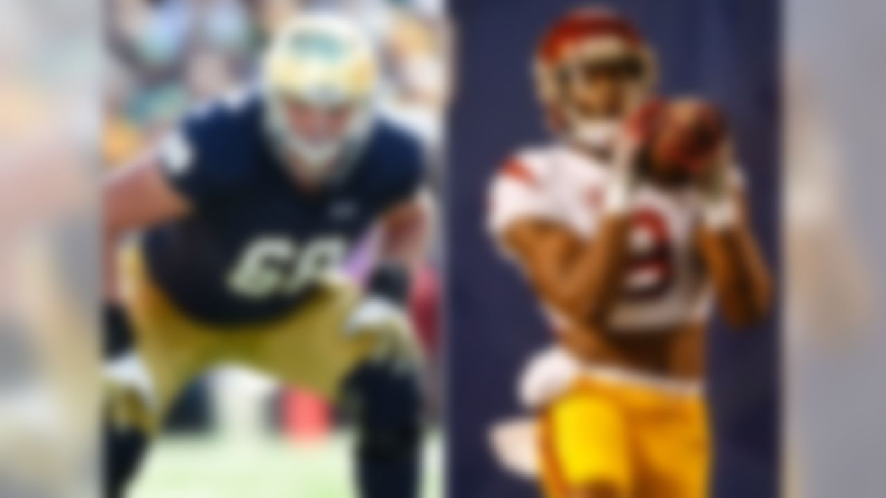 Players in CFB 24/7 Top 100: 5 Mike McGlinchey is expected to replace first-round pick Ronnie Stanley at left tackle for Notre Dame, and do so with great effectiveness. Behind him, the rushing duo of Josh Adams and Tarean Folston, who is returning from a knee injury, could be dynamic. USC will have its usual playmakers at the skill positions, led by Adoree' Jackson on defense and star receiver JuJu Smith-Schuster on offense. Up front, USC's Zach Banner is one of the nation's biggest (6-foot-9, 360 pounds) and best offensive tackles.