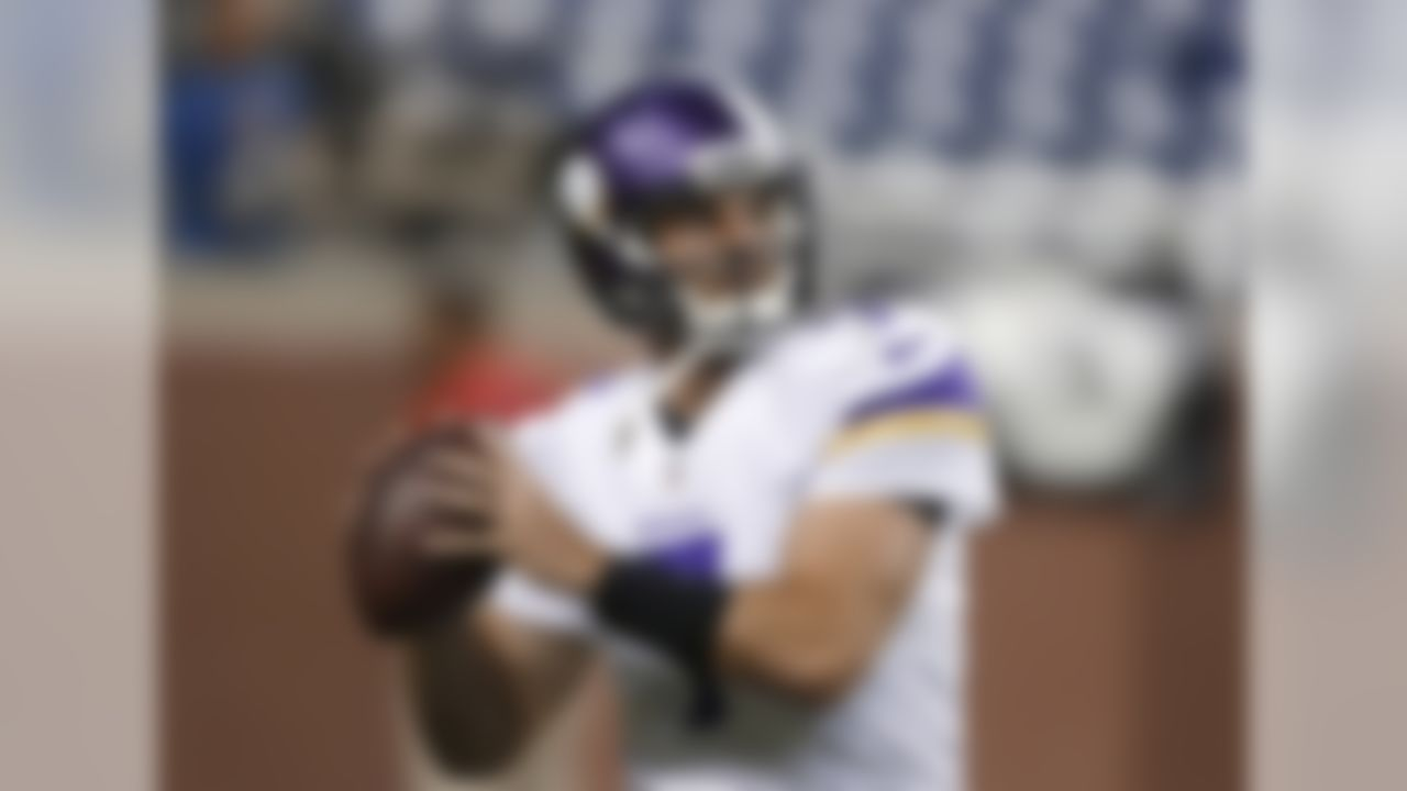 Minnesota Vikings quarterback Christian Ponder warms up before the Lions' NFL football game against the Detroit Lions at Ford Field in Detroit, Sunday, Sept. 8, 2013. (AP Photo/Carlos Osorio)