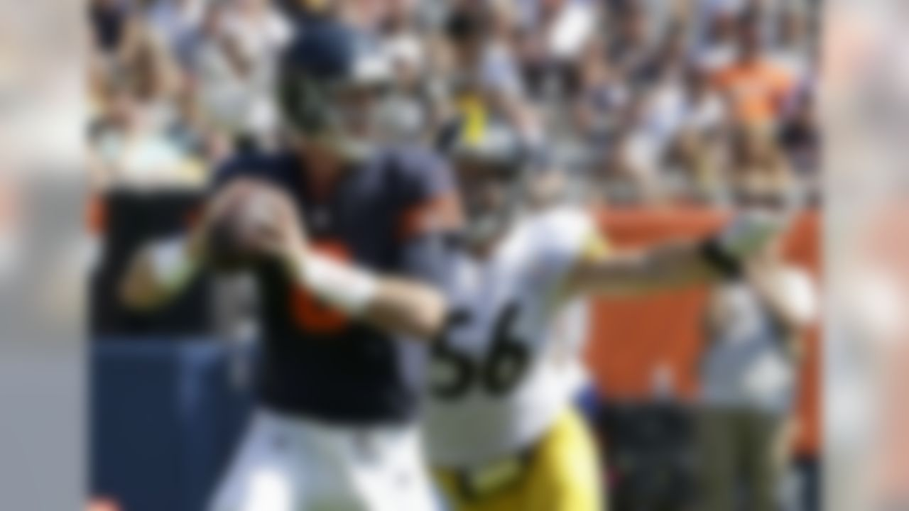 Pittsburgh Steelers linebacker Anthony Chickillo (56) get ready to sack Chicago Bears quarterback Mike Glennon (8) during the first half of an NFL football game, Sunday, Sept. 24, 2017, in Chicago. (AP Photo/Nam Y. Huh)