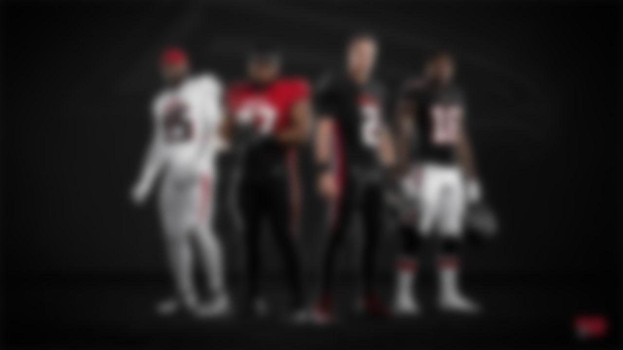 Atlanta Falcons linebacker Deion Jones (45), defensive tackle Grady Jarrett (97), quarterback Matt Ryan (2), and wide receiver Calvin Ridley in the new Falcons 2020 uniforms.