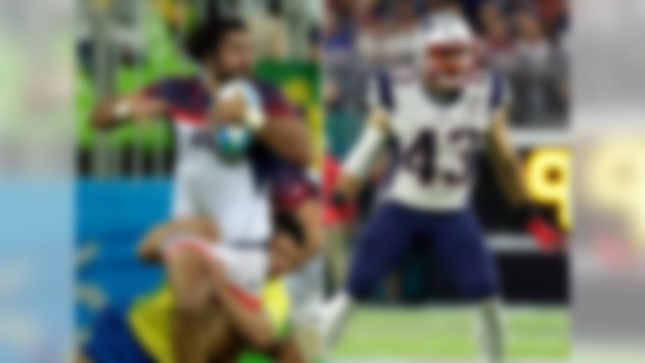 Nate Ebner participated in the Men's Rugby Sevens team at the Rio de Janeiro games in 2016. Ebner signed as a defensive back with the New England Patriots in 2012 and is currently on his 6th season.