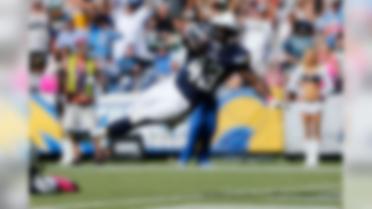 San Diego Chargers running back Branden Oliver (43) touchdown run during the NFL week 5 game between the New York Jets and the San Diego Chargers on Sunday, Oct. 5, 2014 at Qualcomm Stadium in San Diego. (Ric Tapia/NFL)