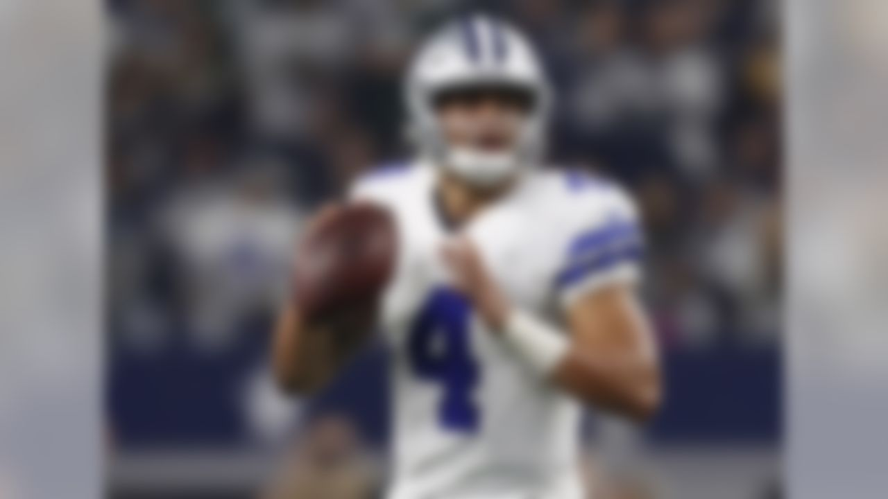 Draft position: Round 4, No. 135 overall.  Prescott's numbers -- completing 67.8 percent of his passes (311 of 459) with 23 touchdowns, four picks and a passer rating of 104.9 -- are off the charts for a rookie who was slotted in at No. 3 on the depth chart at one point.
